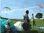 elementary paragliding course students