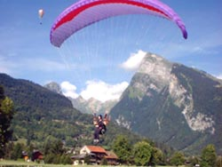 Paragliders landing at Morzine, France.