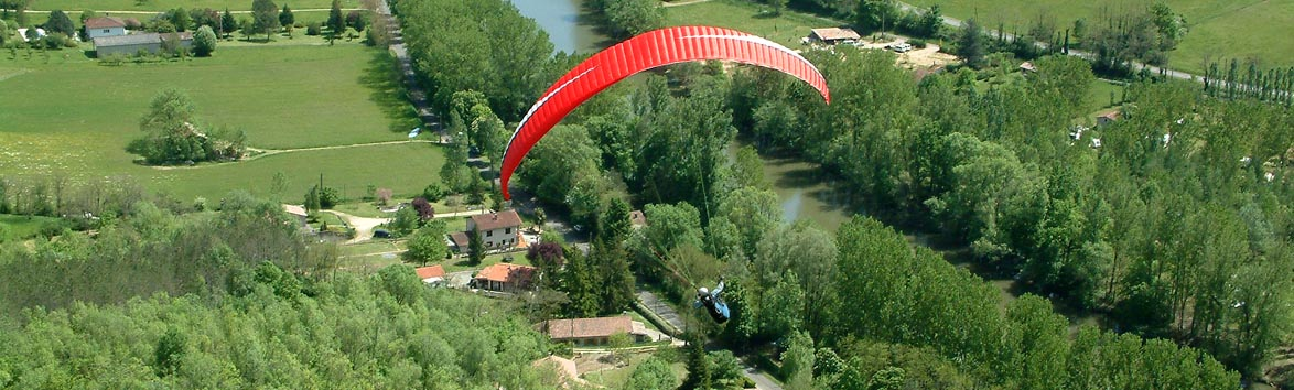 Paraglider flying near the Pyrenees in France