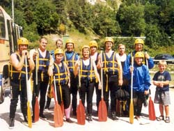 Group ready for white water Rafting in France