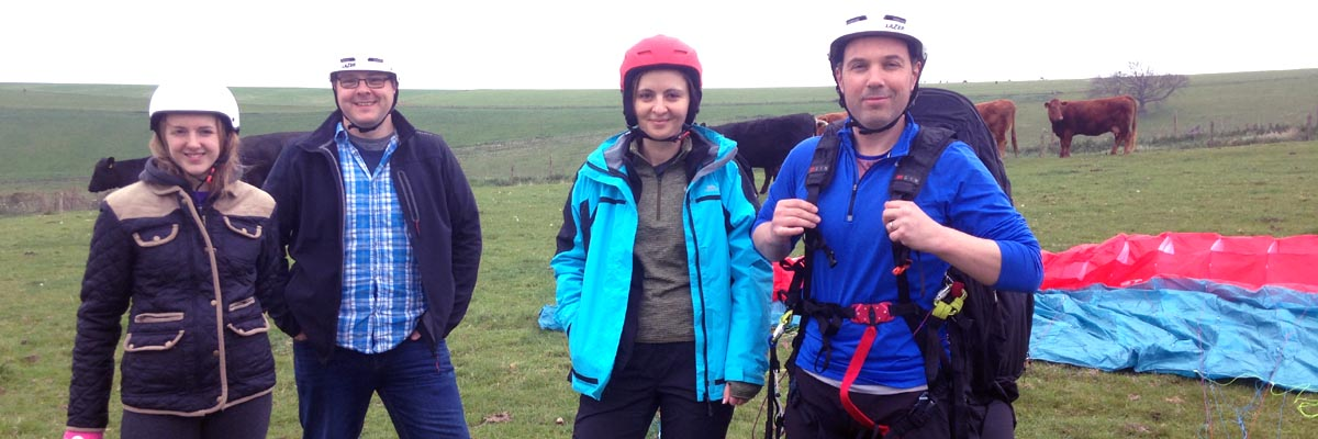 Paragliding group of 4 at our site at Steyning