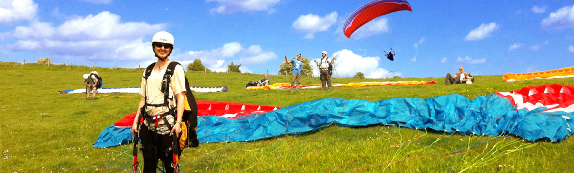 Paragliding students on take off at Steyning Sussex