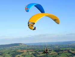 Paragliders at Pandy in Wales